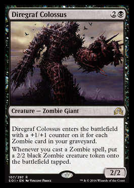 cards colossus mtg whenever graveyard cast spell creature zombie battlefield enters counter put token magic tapped each gathering